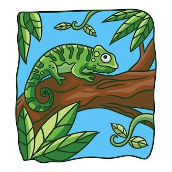 Ilustracja kreskówka kameleon na pniu drzewa
