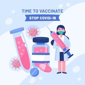 Ilustracja kreskówka kampanii szczepień