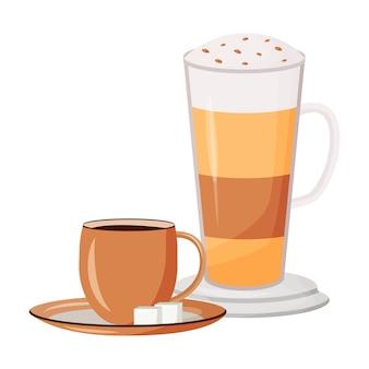 Ilustracja kreskówka kawy. warstwowy napój kofeinowy. karmelowe macchiato z bitą śmietaną. czarna herbata. kubki z płaskim obiektem koloru gorących napojów. cappuccino na białym tle
