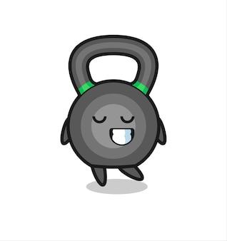 Ilustracja kreskówka kettleball z nieśmiałym wyrazem twarzy, ładny styl na koszulkę, naklejkę, element logo