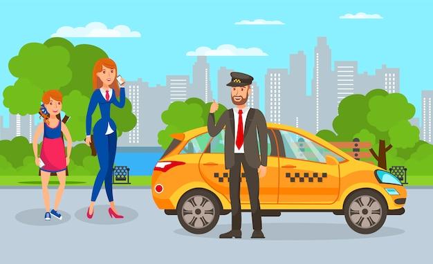 Ilustracja kreskówka kierowca taksówki i pasażerów