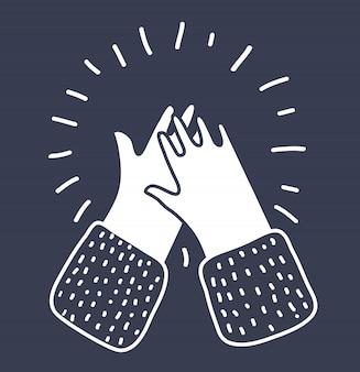 Ilustracja kreskówka klaskanie w ręce, oklaski na białym tle na czarno. zarys koncepcji graficznej w nowoczesnym stylu.