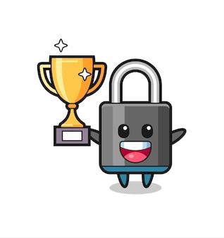 Ilustracja kreskówka kłódka jest szczęśliwa trzymając złote trofeum, ładny styl na koszulkę, naklejkę, element logo