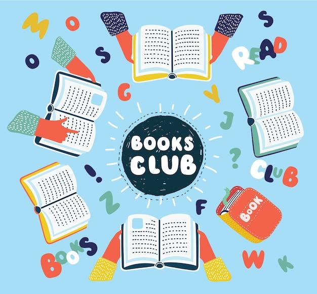Ilustracja kreskówka klubu czytania