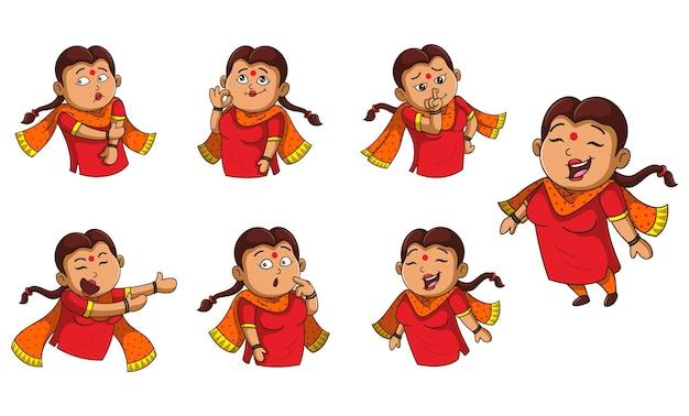 Ilustracja kreskówka kobieta zestaw naklejek
