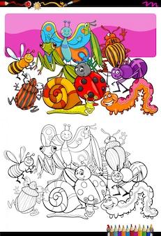 Ilustracja kreskówka kolorowanka znaków owadów