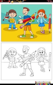 Ilustracja kreskówka komiks znaków dzieci w wieku szkolnym do kolorowania książki