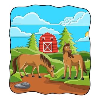 Ilustracja kreskówka koń je trawę przed stajnią