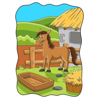Ilustracja kreskówka koń jest na farmie na skraju wzgórza