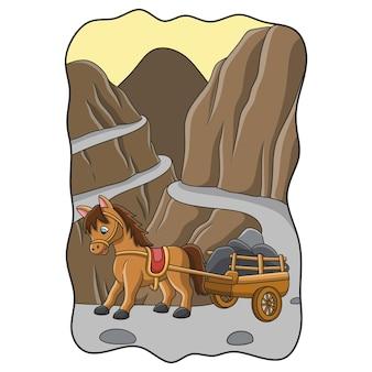 Ilustracja kreskówka koń niosący wóz wypełniony kamieniami przez drogę w pobliżu wąwozu