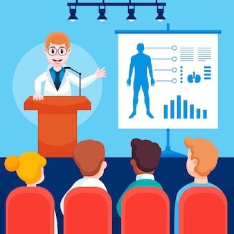 Ilustracja kreskówka konferencji medycznej