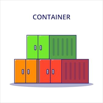 Ilustracja kreskówka kontener logistyczny. koncepcja ikona logistyki na białym tle.