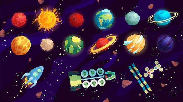 Ilustracja kreskówka kosmosu z różnymi planetami i statkami kosmicznymi.