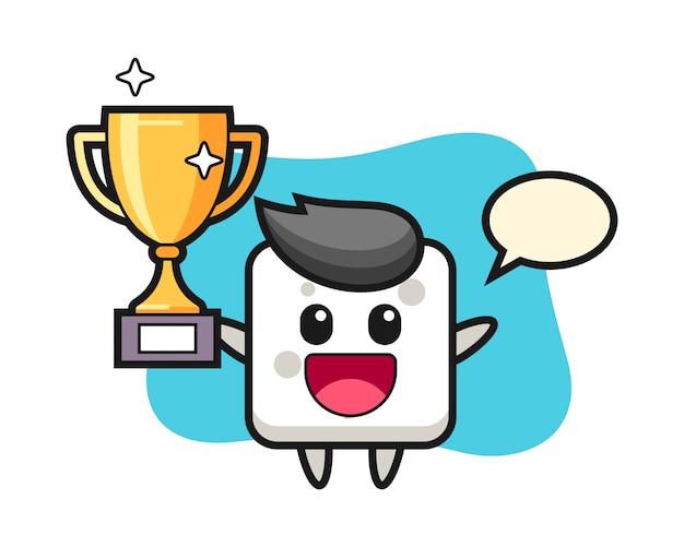 Ilustracja kreskówka kostki cukru jest szczęśliwa, trzymając złote trofeum, ładny styl na koszulkę, naklejkę, element logo