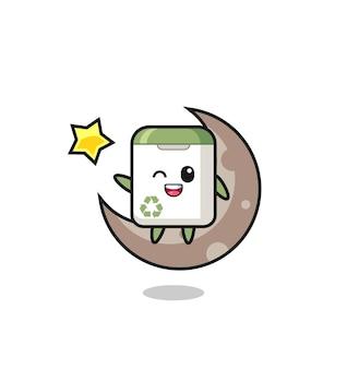 Ilustracja kreskówka kosza na śmieci siedzący na półksiężycu, ładny styl na koszulkę, naklejkę, element logo