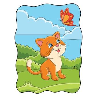 Ilustracja kreskówka kot bawi się motylem w lesie
