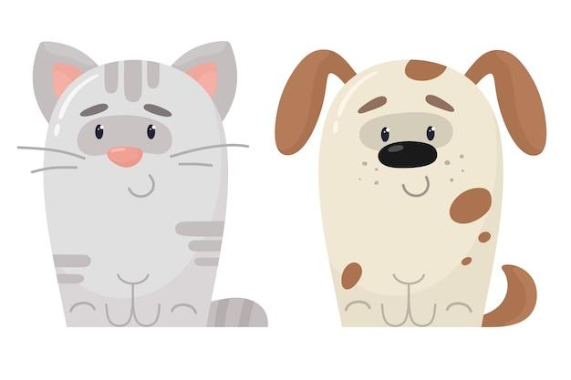 Ilustracja kreskówka kot i pies