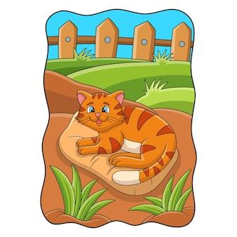 Ilustracja kreskówka kot leżący na dywanie w dziedzińcu książki lub strony dla dzieci