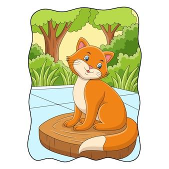 Ilustracja kreskówka kot pozuje fajnie na kłodzie na podwórku