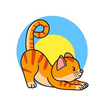 Ilustracja kreskówka kot streching. koncepcja jogi zwierząt. kotek robi joga.