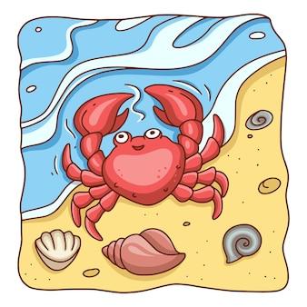 Ilustracja kreskówka krab na plaży