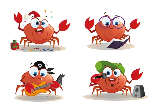 Ilustracja kreskówka krab postać strony
