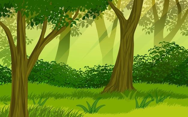 Ilustracja kreskówka krajobraz lasu
