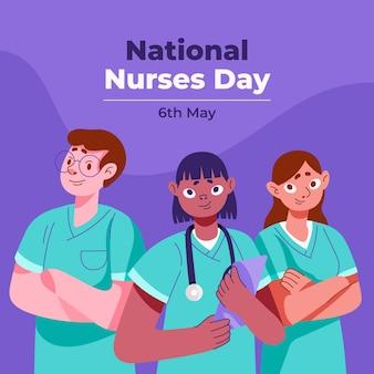 Ilustracja kreskówka krajowy dzień pielęgniarek