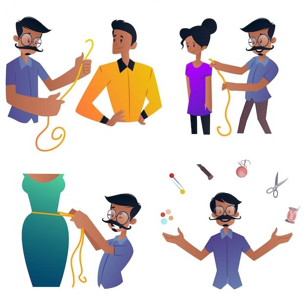 Ilustracja kreskówka krawiec zestaw znaków