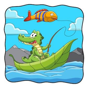 Ilustracja kreskówka krokodyl wędkarski