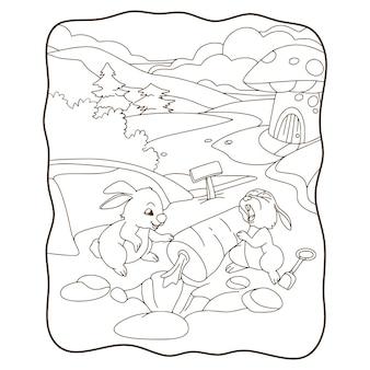 Ilustracja kreskówka królik kopiący czarno-białą książkę lub stronę marchewki dla dzieci