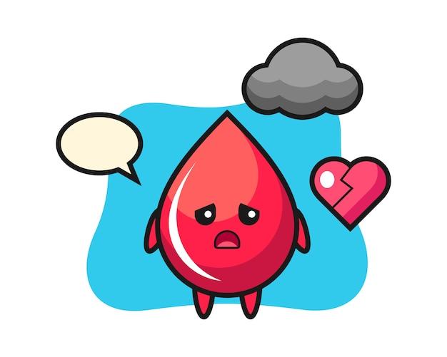 Ilustracja kreskówka kropla krwi to złamane serce, ładny styl, naklejka, element logo