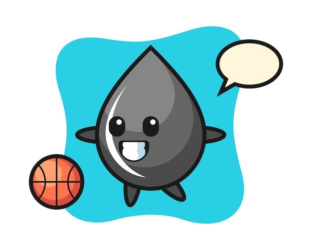 Ilustracja kreskówka kropla oleju gra w koszykówkę