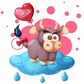 Ilustracja kreskówka krowa. chmura, balon