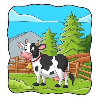 Ilustracja kreskówka krowa jest na łące