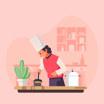 Ilustracja kreskówka kucharz kucharz, restauracja kucharz kucharz w kapeluszu i mundurze.