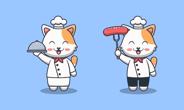 Ilustracja kreskówka kucharz ładny kot