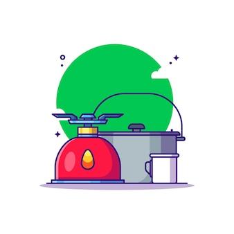 Ilustracja kreskówka kuchenka i garnek