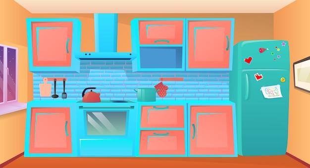Ilustracja kreskówka kuchnia