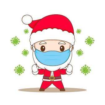 Ilustracja kreskówka ładny charakter chibi wirusa zatrzymania świętego mikołaja