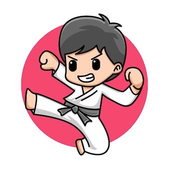 Ilustracja kreskówka ładny chłopiec karate