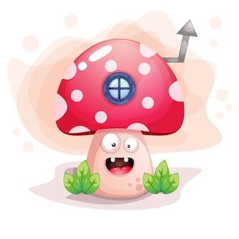 Ilustracja kreskówka ładny grzyb