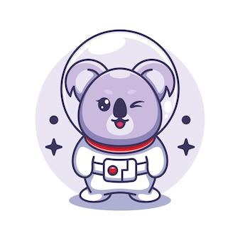 Ilustracja kreskówka ładny koala astronauta