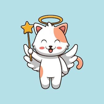 Ilustracja kreskówka ładny kot anioła