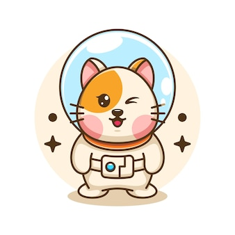 Ilustracja kreskówka ładny kot astronauta