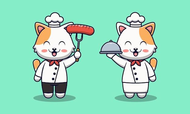 Ilustracja kreskówka ładny kot szefa kuchni