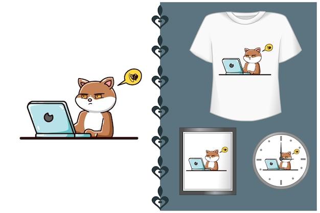 Ilustracja kreskówka ładny kot