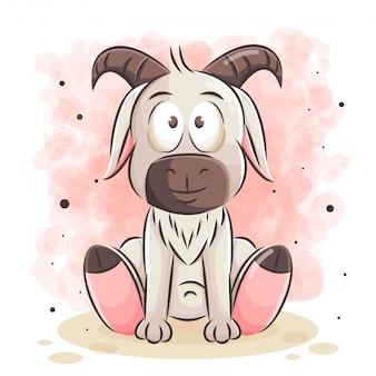 Ilustracja kreskówka ładny koza