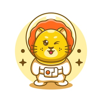 Ilustracja kreskówka ładny król lew astronauta
