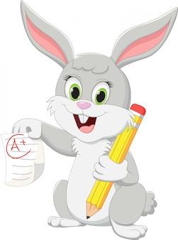 Ilustracja kreskówka ładny królik z ołówkiem i papierem testowym